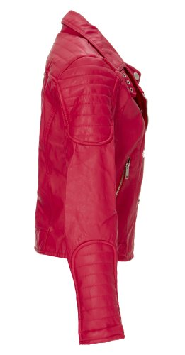(7813) Dollhouse Updated Classic Vegan Leather Motorcycle Jacket in Red Size: 3X