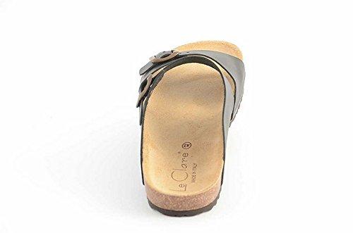Sandalen Jerry Herren Le aus Anatomischen mit Naturkork Einfarbig Pelle Fußbett Clare Schwarz IwRwx54q