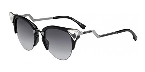 Fendi Women's Iridia Crystal Corner Sunglasses, Black Ruthenium/Grey Grad, One - Sunglasses Fendi Black