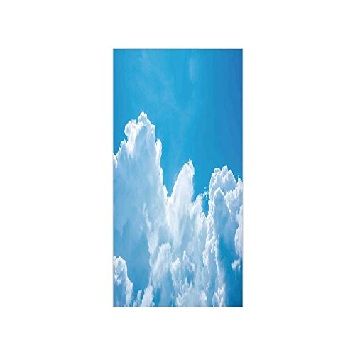 Decorative Privacy Window Film/Crystal Clouds in the Sky Heavenly Life Hope Symbol Surface of Planetary Body Image/No-Glue Self Static Cling for Home Bedroom Bathroom Kitchen Office Decor Blue White (Ray-ban-symbol)