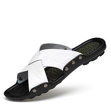 US9 CN41 Marrón Vestidos Claro Verano Primavera Flops 1 Exterior 3 Unisex EU40 UK7 Negro 1A Flip Zapatillas Pulg Comodidad Confort RTRY Cowhide Blanco Zapatos amp;Amp; 4 Anterior w6zFgAq