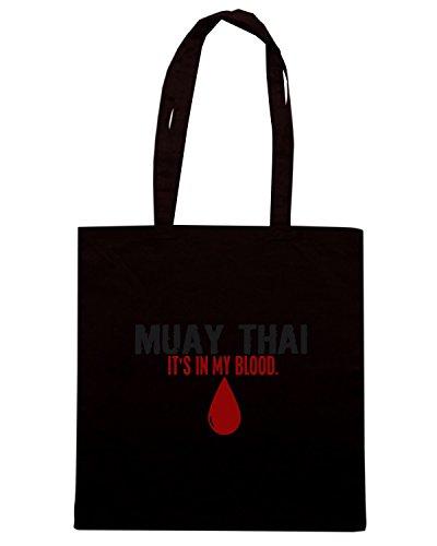 T-Shirtshock - Bolsa para la compra TAM0059 in my blood muay thai hooded sweatshirt Negro