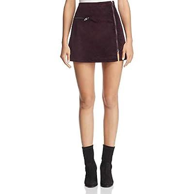 [BLANKNYC] Blank NYC Womens Velveteen Asymmetric Zipper Mini Skirt