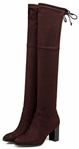 Brown Heel Pull Toe High Suede Women's Easemax On Chunky Knee High Round Over Chic Booties Faux FTnwgq