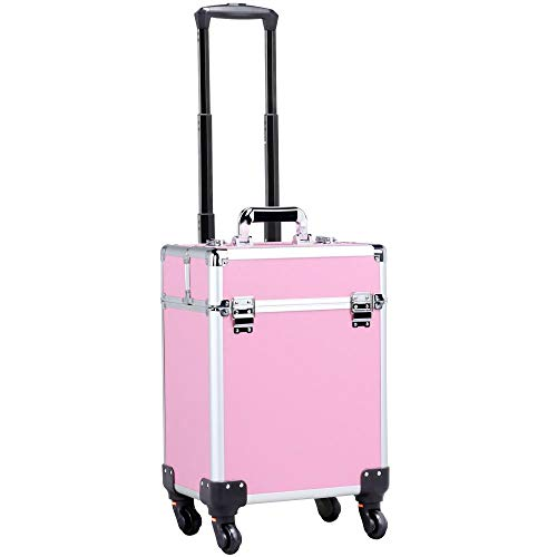 (Yaheetech Aluminum Portable Cosmetic Beauty Hairdressing Makeup Box Case Storage Trolley Pink)