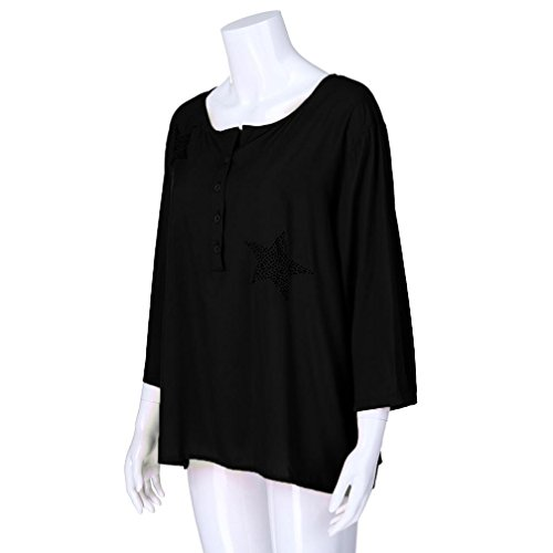 Camicetta Shirt T Five Grossa Tops YUMM Taglia Donna Nero Top Pulsante Star Pointed Ladies Casual AwUvYq