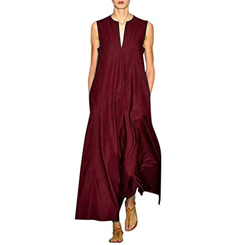 Couture Jersey Gown - TEVEQ Women Maxi Dress Vintage Dresses for Women Plus Size Dress Sleeveless Floral Summer Boho Dress Wine