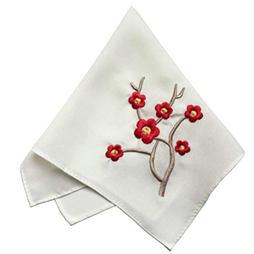 (George Jimmy One White Elegant and Retro Red Plum Flower Embroidered Handkerchief)