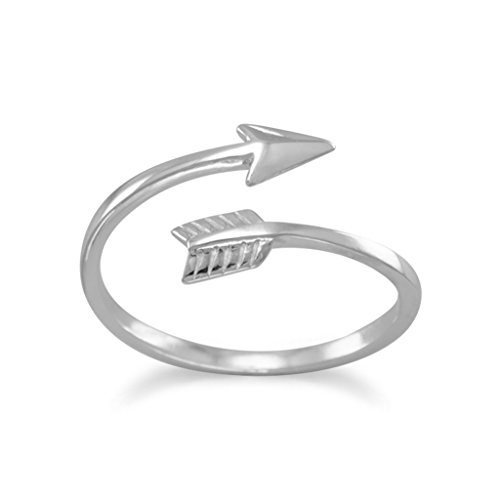 Rhodium Plated Sterling Silver Wrap Ring, Sizes 4-11, Sideways Arrow, 1/2 inch - Plated Wrap Ring Rhodium