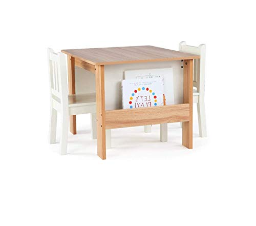 (Tоt Tutоrs Journey Wood Table and 2 Chairs Set with Book Storage-Natural/White)