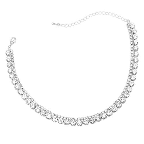 Rosemarie Collections Women's Brilliant 2 Row Crystal Rhinestone Statement Choker Necklace