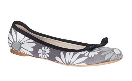 Marc Jacobs Women's Gray Floral Print Canvas Ballerina Flats Shoes, 10, Gray