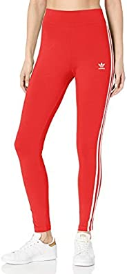 adidas Originals Women's 3 Stripes Tights, Lush Red/White,