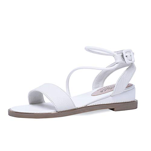 Women Sandals Cow Leather+PU Round Open-Toed Flat Heel Slingback,White,5