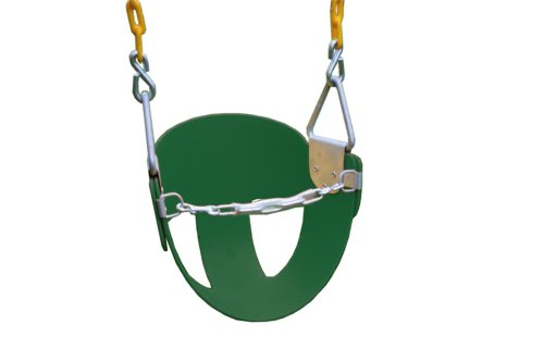 Eastern Jungle Gym Heavy-Duty High Back Half Bucket Toddler Swing Seat with Coated Swing Chains and Safety Strap (Bucket Rust)