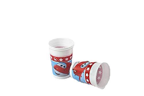 12 Vasos y 12 Platos 20 cm ALMACENESADAN 1086 Pack Desechables Plus Superwings para Fiestas o cumplea/ños; Compuesto por 20 servilletas