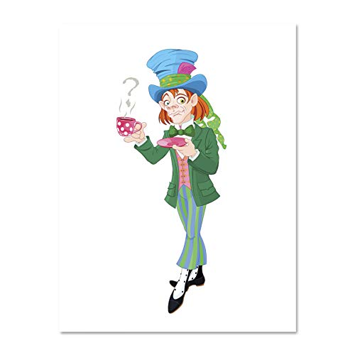 Doppelganger33 LTD Painting Cartoon Mad Hatter Alice Picture Art Large Framed Art Print Poster Wall Decor 18x24 inch Supplied Ready to Hang ()