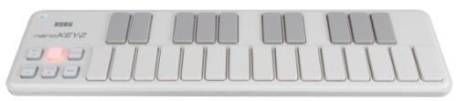 Korg nanoKEY2 Slim-Line USB Keyboard, White, Outdoor Stuffs