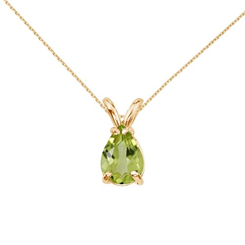 - FB Jewels Solid 14k Yellow Gold Genuine Birthstone Pear Shaped Peridot Pendant (0.7 Cttw.)