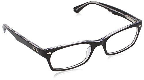 Ray-Ban RX5150 Rectangular Eyeglass Frames, Black On Transparent/Demo Lens, 52 mm