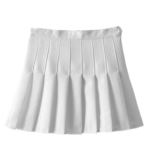 FYMNSI Junior School Uniform Skirt Teens Gym Cheerleader Mini Tennis Golf Skater Pleated Skorts with Inner Shorts White XL]()