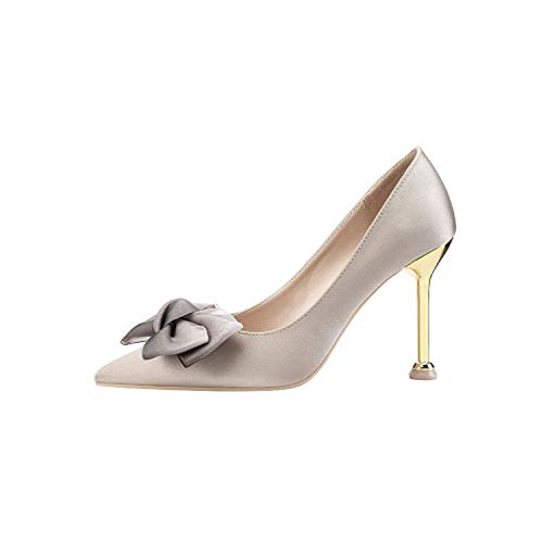 2019 New Women's Shoes Fashion Pointed Sexy High Heels Stiletto Bow Satin was Thin Professional,4,3.5