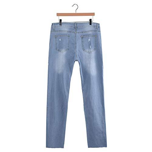 slim magro strappato lungo Donna buco sexy irregolari gradiente Jeans Jeans Taglie moda Azzurro forti LQQSTORE donna denim pantaloni Hq6Ux8wX4