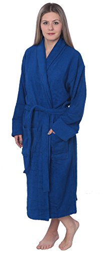 Beverly Rock Womens 100% Cotton Shawl Collar Robe Terry Cloth Bathrobe Available In Plus Size BRT1_Y18 Royal Blue 3X