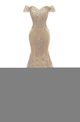 Himoda Women's V Neckline Beaded Evening Gowns Mermaid Lace Prom Dresses Long H074 18W Champagne