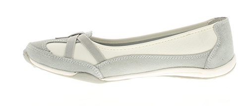 Ever So Soft Damen Beschichtetes Leder Ohne Bügel Bequeme Schuhe Leder Futter und Socke, Polsterung Für Zusätzlichen Komfort TPR Laufsohle - Grau - UK Größen 3-8