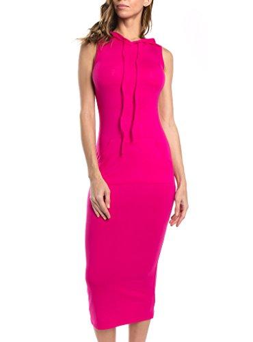 (Bubble B Women's Hooded Sleeveless Long Bodycon Dress Fuchsia 2XL)