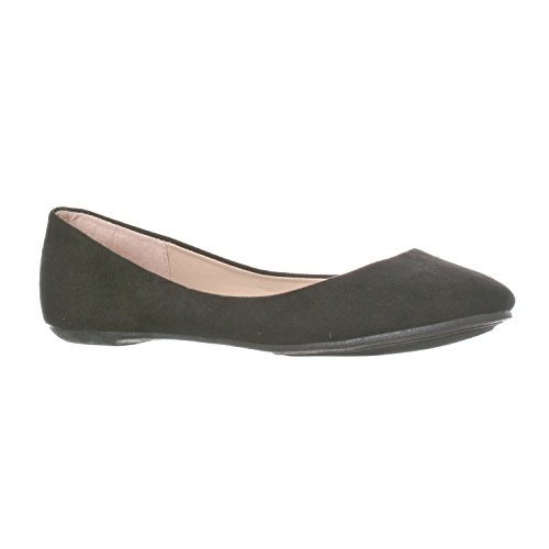 (Riverberry Women's Aria Closed, Round Toe Ballet Flat Slip On Shoes, Black Suede, 6)
