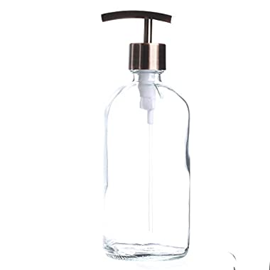 Factory Direct Craft Thick-plated Clear Glass Apothecary Style Round Bottle with Brushed Copper Colored Dispenser Pump