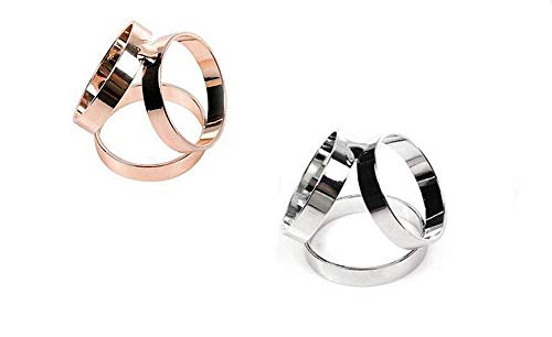 Pack of 2 Golden and Silver Women Lady Girls Triple-Ring Fashion Modern Simple Metal Minimalist Scarf Buckle Jewelry Silk Scarf Fixate (Buckle Silk)