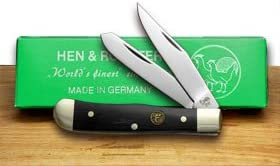 Hen and Rooster Cape Buffalo Horn Tiny Trapper Pocket Knife Knives