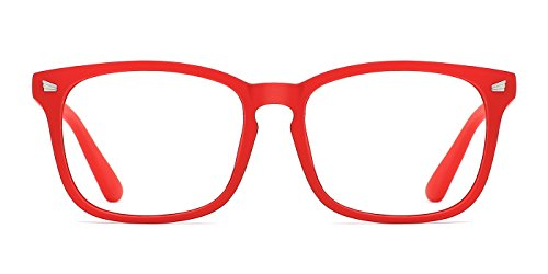 TIJN Unisex Non-Prescription Eyeglasses Clear Lens Glasses Square Eyewear Sexy Red Frame