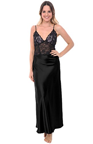 Del Rossa Women's Satin Nightgown, Full Length Camisole Chemise with Lace, XL Black (A0780BLKXL)