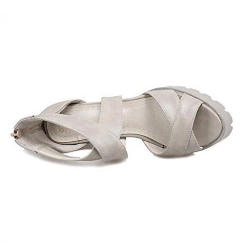 Talon Sandales Bout Ouvert Chaussures Pour Fermeture Type Femmes Éclair Gris Épais Printemps été Épaisse De Semelle Pu HPrnHCgq