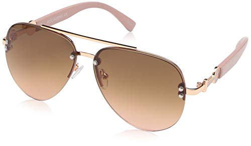 Rocawear Women's R3295 Rgdrs Non-Polarized Iridium Aviator Sunglasses, Gold Rose, 60 mm