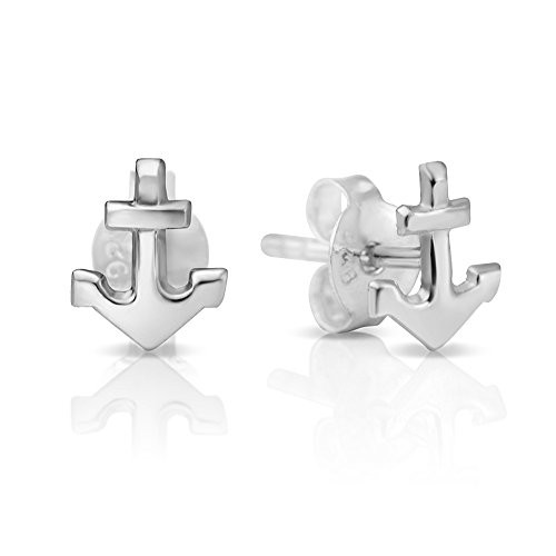 925 Sterling Silver Tiny Little Anchor Navy Sailor Ship Symbol 8 mm Post Stud Earrings