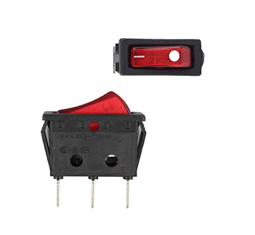 RH Series Illuminated Red Rocker Switch Red 20 A 16 A Replaces Zing Ear ZE-235L, Defond DRH 1215, Edgestar Ice Maker Freezer Machines Appliance Rocker Switch