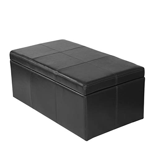 Adeco Bonded Rectangular Leather Storage Ottoman Footstool, 36 x 20, Black