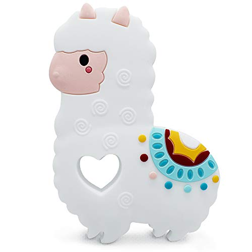 Bibofish Single Llama Silicone Teether Natural Teething Toy Baby Teether (White)