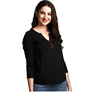 AELOMART Women's Cotton Black Full Sleeve Top(AWT3051-P)