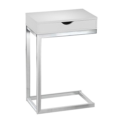 Monarch Specialties I 3031, Accent Table with a drawer , Chrome Metal, Glossy White