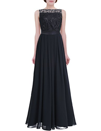 (FEESHOW Women's Floral Lace Appliques Chiffon Wedding Bridesmaid Long Dress Prom Evening Gowns Black 6)