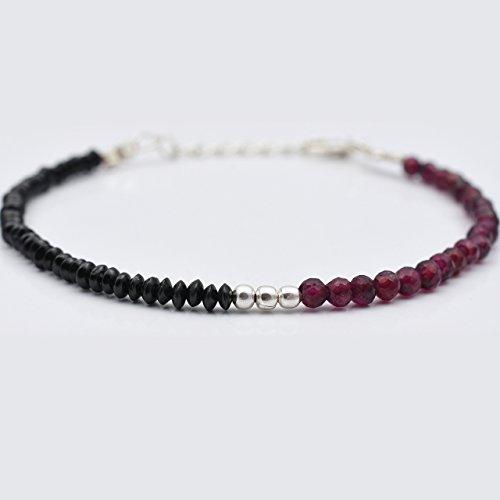 (Dark Pink Garnet & Black Spinel Beads Bracelet with 925 Silver Findings 6.50