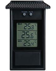 ALLOMN Thermometer, voor broeikas, waterdicht, digitaal, max. Mijn broeikas, thermometer-monitor, 0,1 ° C resolutie, -20-50 ° C temperatuurbereik, wandmontage op batterijen, zwart