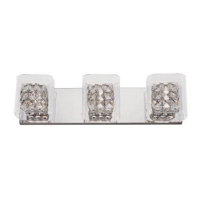 Crystal Cube 3-Light Polished Chrome Vanity Light