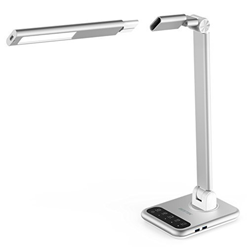 Dimmable LED Desk Lamp, BESTEK Touch Control LED Table Lamp with Detachable Lamp Head, Foldable and Rotatable Arm, 2 USB Chargers, 4 Lighting Modes, Timer, Memory Function-Silver